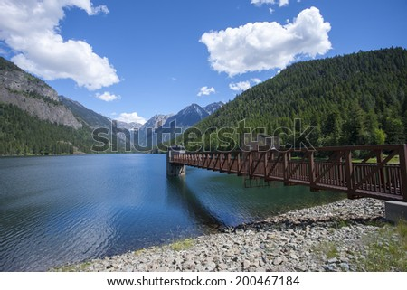 Feature at Lake MacDonald near St. Ignatius Montana and Ninepipes refuge in Montana. - stock photo