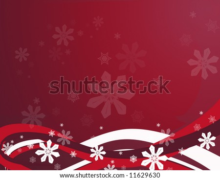 Features abstract swirls and snowflakes in a red background. - stock photo
