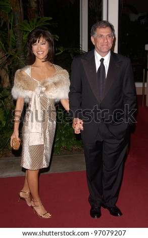 Feb 12, 2005; Beverly Hills, CA: TV presenter JULIE CHEN & boyfriend CBS TV boss LESLIE MOONVES at record mogul Clive Davis' Annual pre-Grammy party at the Beverly Hills Hotel.