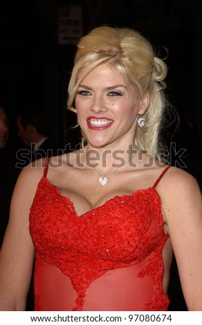 Feb 14, 2005; Los Angeles, CA: Actress/model ANNA NICOLE SMITH at the world premiere of Be Cool, at the Grauman's Chinese Theatre, Hollywood. - stock photo