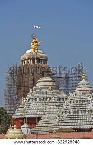 FEB 08, 2014, PURI, INDIA - Famous and ancient temple of Krishna Jagannath (Lord of Univerce), his brother Baladev and sister Subhadra in Puri, view from the roof of the state library
