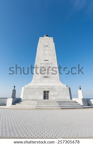 Feb 27th 2015: Wrights brothers national monument for the first aviation in the history in Outer Banks, NC USA - stock photo