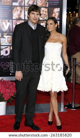 """February 8, 2010. Ashton Kutcher and Demi Moore at the Los Angeles premiere of """"Valentine's Day"""" held at the Grauman's Chinese Theater, Hollywood. - stock photo"""