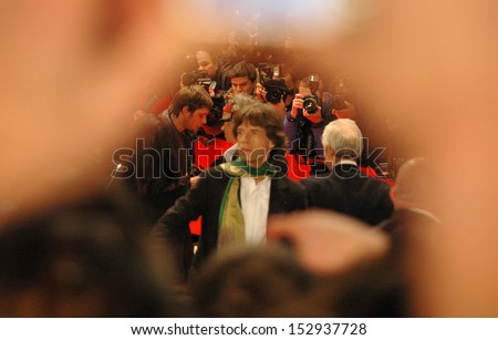 "FEBRUARY 7, 2008 - BERLIN: Mick Jagger of the ""Rolling Stones"" at the opening of the Berlinale film festival (with the film ""Shine a Light"") at the Potsdamer Platz in Berlin. - stock photo"