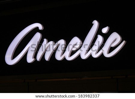 "FEBRUARY 15, 2014 - BERLIN: the logo of the brand ""Amelie"", Berlin."