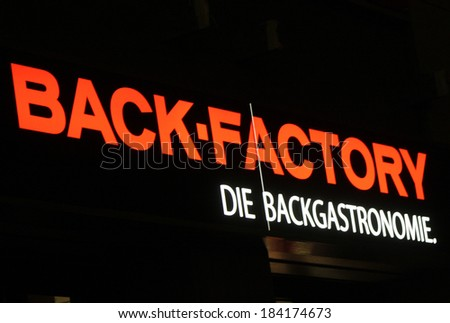 "FEBRUARY 15, 2014 - BERLIN: the logo of the brand ""Back Factory"", Berlin."