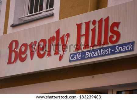 "FEBRUARY 15, 2014 - BERLIN: the logo of the brand ""Beverly Hills"", Berlin."