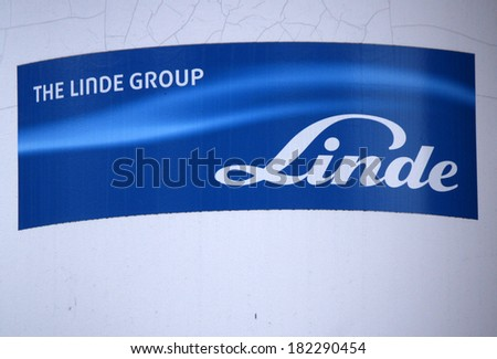 "FEBRUARY 15, 2014 - BERLIN: the logo of the brand ""Linde"", Berlin."