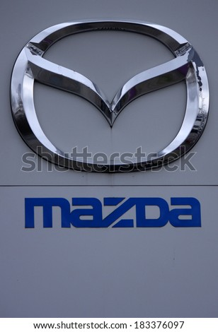 "FEBRUARY 15, 2014 - BERLIN: the logo of the brand ""Mazda"", Berlin."