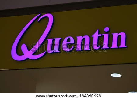 "FEBRUARY 26, 2014 - BERLIN: the logo of the brand ""Quentin"", Berlin."