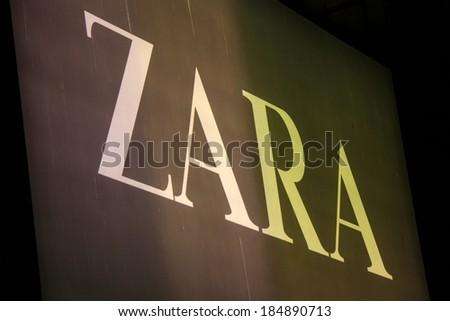 """FEBRUARY 26, 2014 - BERLIN: the logo of the brand """"Zara"""", Berlin."""