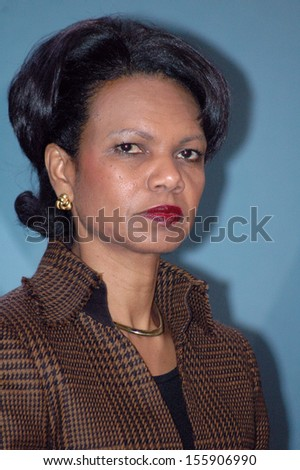 FEBRUARY 4, 2005 - BERLIN: US Secretary of State Condoleezza Rice at a press conference after a meeting with the German Chancellor in the Chanclery in Berlin.