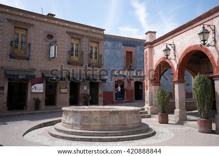 February 26,2016 Bernal, Queretaro, Mexico: colonial architecture in the centre of the magic town is attracting many tourists  - stock photo
