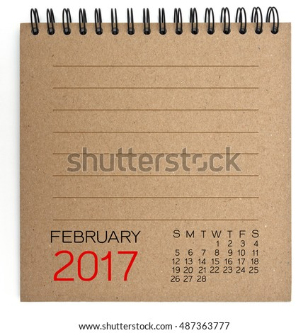 February 2017 Calendar on brown Texture Paper