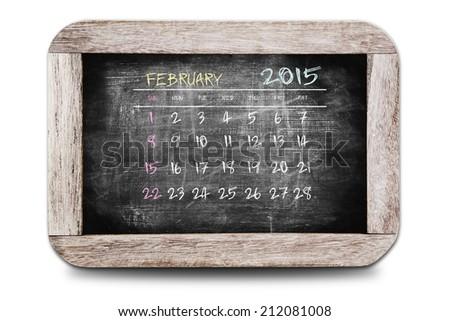 February 2015 - Calendar on chalk board - stock photo