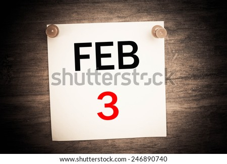 February 3 calendar on note paper   - stock photo