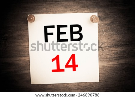 February 14 calendar on note paper   - stock photo