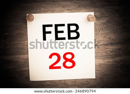 February 25 calendar on note paper   - stock photo