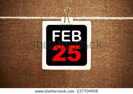 February 25 Calendar. Part of a set - stock photo