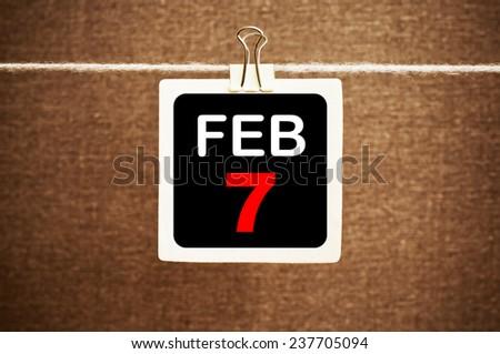 February 7 Calendar. Part of a set - stock photo