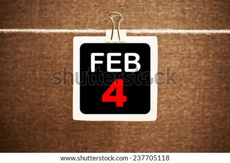 February 4 Calendar. Part of a set - stock photo