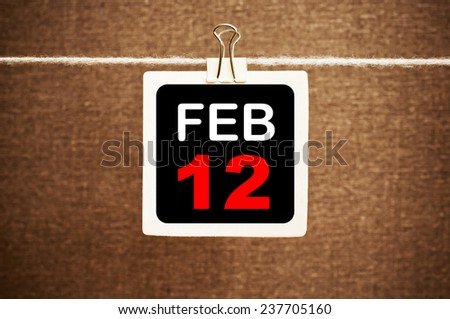 February 12 Calendar. Part of a set - stock photo