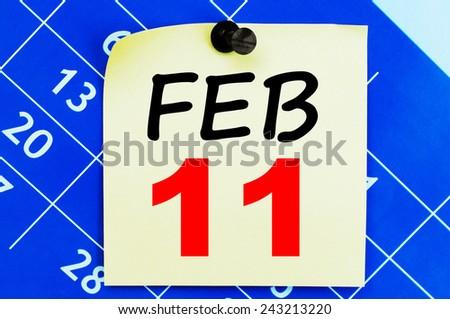February 11 Calendar. Part of a set - stock photo