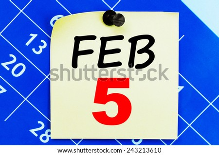 February 5 Calendar. Part of a set - stock photo