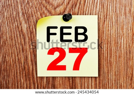 February 27 Calendar. Part of a set - stock photo