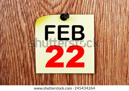 February 22 Calendar. Part of a set - stock photo