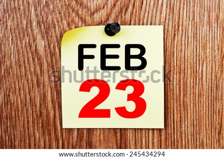 February 23 Calendar. Part of a set - stock photo