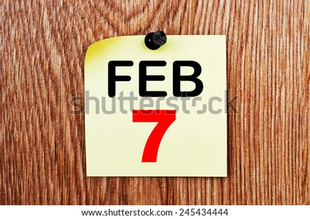 February 7 Calendar. Part of a set - stock photo