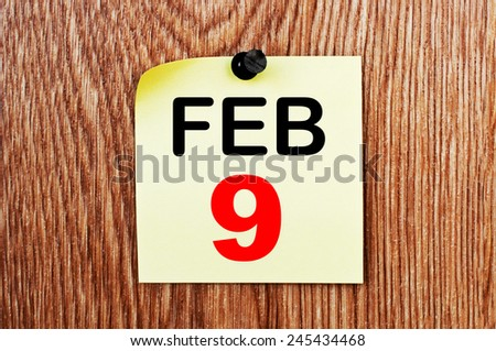 February 9 Calendar. Part of a set - stock photo