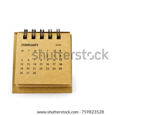 February. Calendar sheet. Two thousand eighteen year calendar on white background.