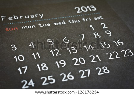 February 2013 hand drawn black and white calendar with low depth of field