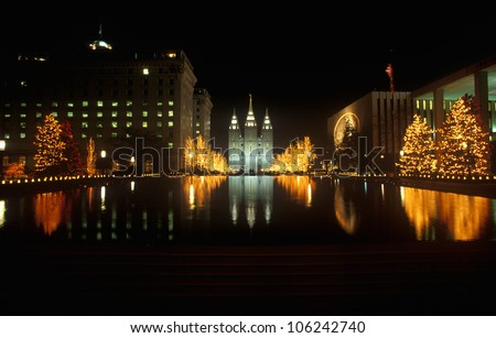 FEBRUARY 2005 - Historic Temple and Square in Salt Lake City at night, during 2002 Winter Olympics, UT - stock photo