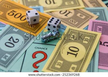 February 8, 2015 - Houston, TX, USA.  Monopoly game board with car on Chance - stock photo