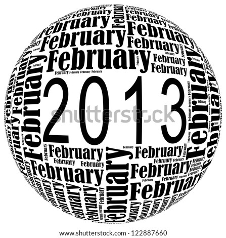 February 2013 info-text graphics arrangement on white background - stock photo