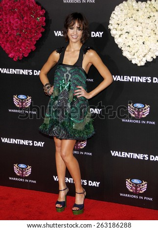 """February 8, 2010. Jessica Alba at the Los Angeles premiere of """"Valentine's Day"""" held at the Grauman's Chinese Theater, Hollywood.  - stock photo"""