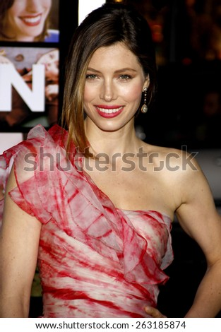 """February 8, 2010. Jessica Biel at the Los Angeles premiere of """"Valentine's Day"""" held at the Grauman's Chinese Theater, Hollywood.  - stock photo"""