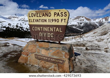 February 3, 2015 Loveland Pass Continental Divide Sign in winter