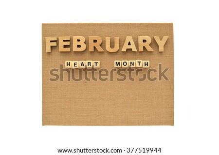 February National Heart Month Canvas Board isolated on white background