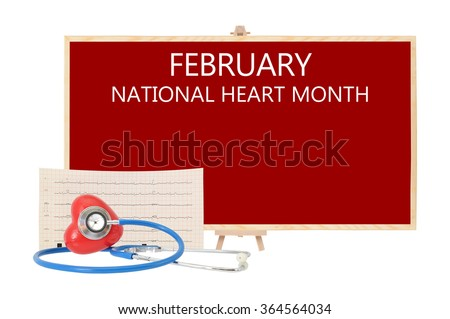 February National Heart Month Red board Stethoscope on Red Heart with Electrocardiograph isolated on white background - stock photo