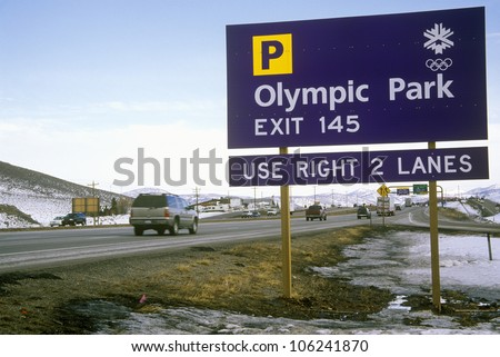 FEBRUARY 2005 - Olympic traffic sign during 2002 Winter Olympics, Salt Lake City, UT - stock photo