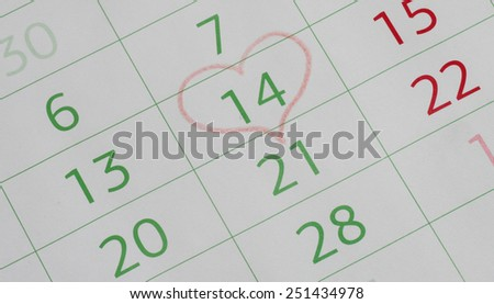 February 14 on the calendar, Valentine's day, heart from red pencil - stock photo