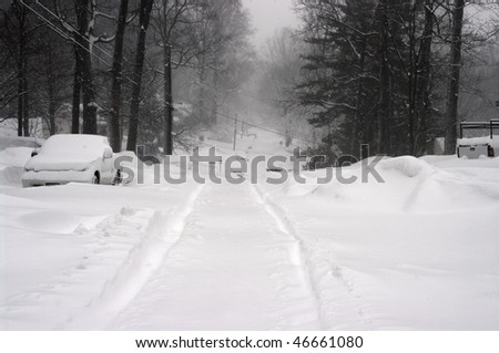 February 2010, record blizzard in the Washington DC area - stock photo
