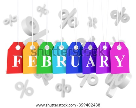 February sales and big discounts - stock photo