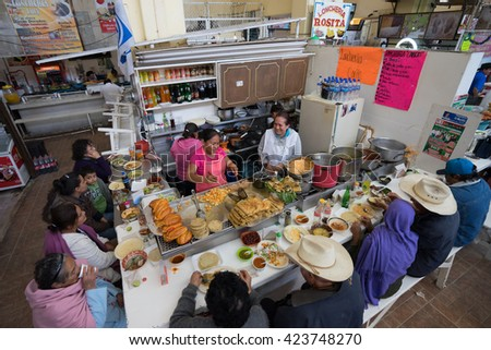 February 6, 2016 Salvatierra, Mexico: low budget typical food stands at the local markets are popular with the locals and tourists  - stock photo