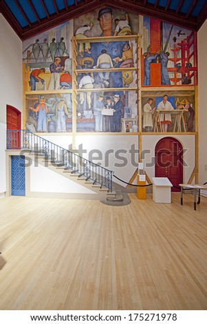 FEBRUARY 6, 2014, SAN FRANCISCO, CA - INSTITUTE OF ART, DIEGO RIVERA; Fresco painted in 1931, it's one of four murals in the Bay Area painted by Mexican artist Diego Rivera (1886-1957). - stock photo