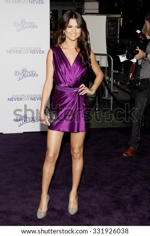 """February 8, 2011. Selena Gomez at the Los Angeles premiere of """"Justin Bieber: Never Say Never"""" held at the Nokia Theatre L.A. Live, Los Angeles.  - stock photo"""